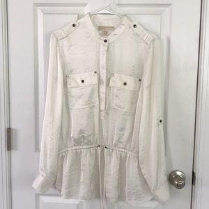 Michael Kors satin top drawstring blouse size L